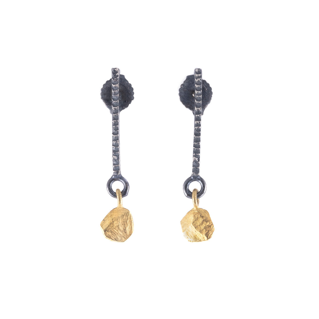 SALE! Oxidized Silver & Gold Drop Earrings by Dahlia Kanner