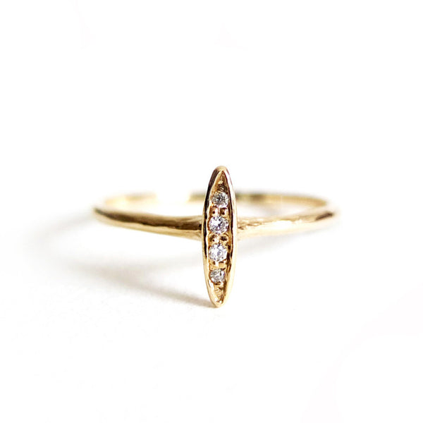 Four diamond baguette ring by N+A - Fire Opal