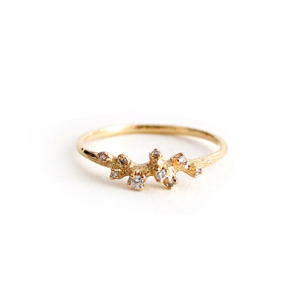 Diamond Cluster Ring in Yellow Gold by N+A - Fire Opal