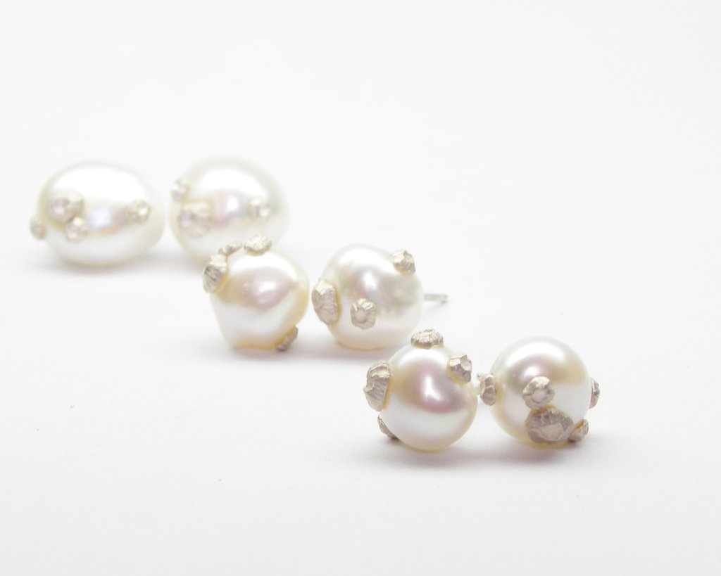 Small Pearl Studs with Barnacles by Hannah Blount