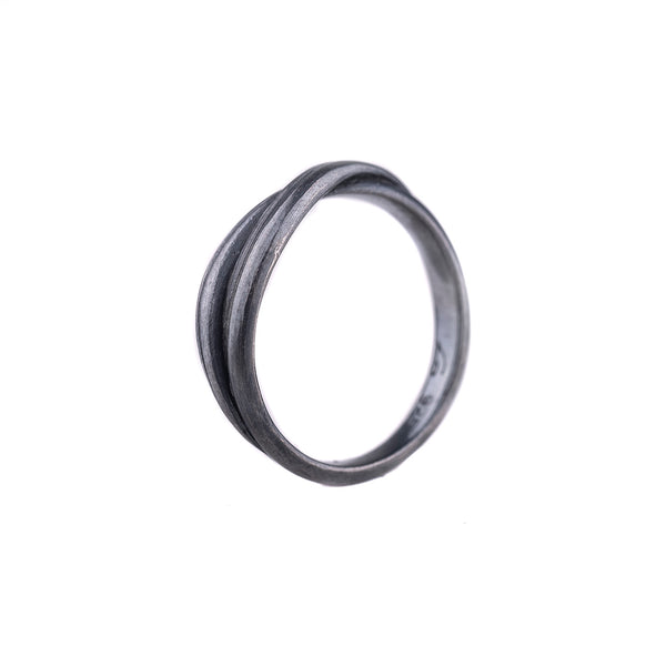 Entwined Ring in Oxidized Silver by Liz Oppenheim Jewelry