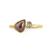 .89 Red Pear Shaped Rose Cut Diamond Ring by Kate Maller