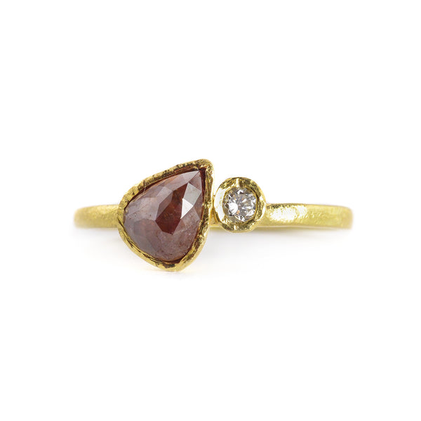 NEW! .89 Red Pear Shaped Rose Cut Diamond Ring by Kate Maller
