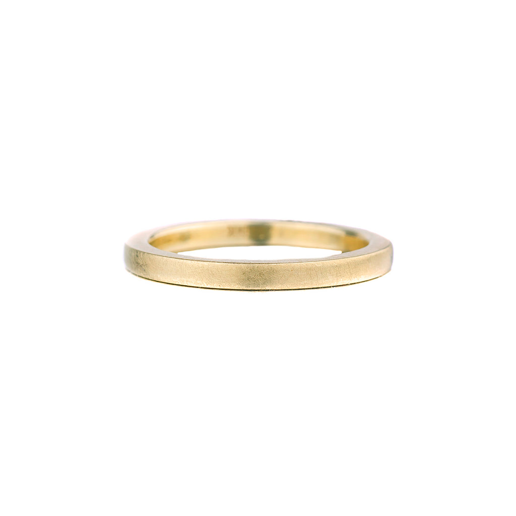 SALE! Thick Brushed 14k Green Gold Band by EC Design