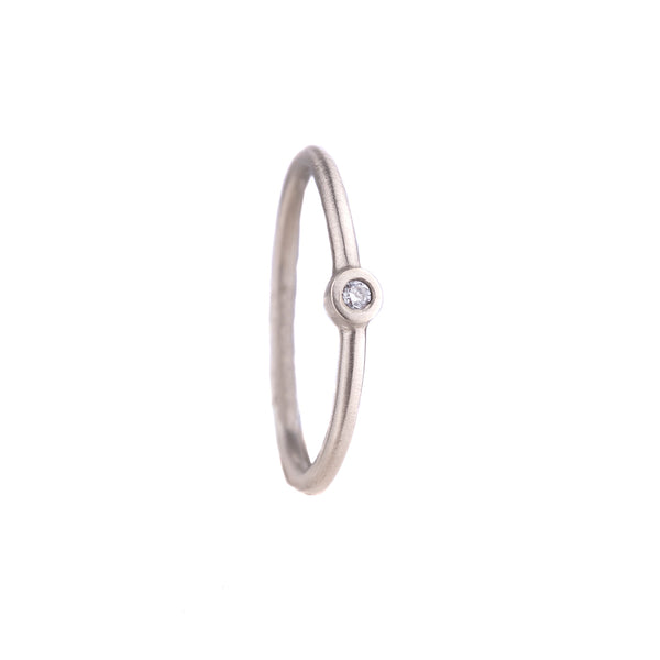 NEW! One Diamond Stacker Ring in 18k White Gold by Heather Guidero