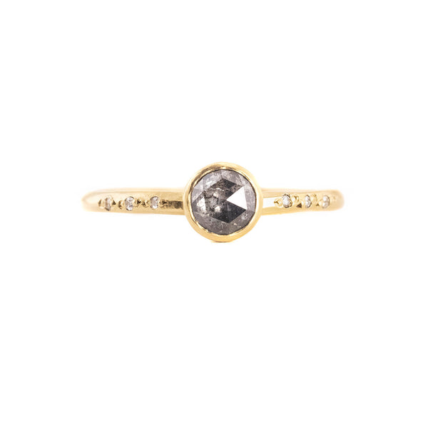 NEW! .52ct Round Salt and Pepper Rose Cut Diamond Chloe Setting Ring by Sarah Mcguire