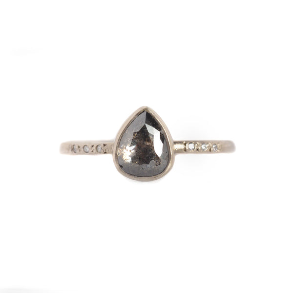 NEW! .82ct Salt and Pepper Rose Cut Diamond Chloe Setting Ring by Sarah Mcguire