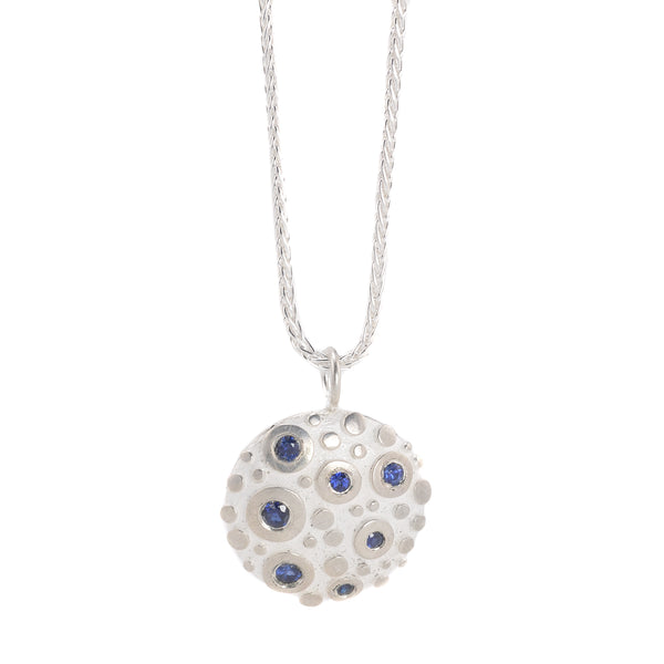 NEW! Bright Silver Disco Pendant with Blue Sapphires by Dahlia Kanner