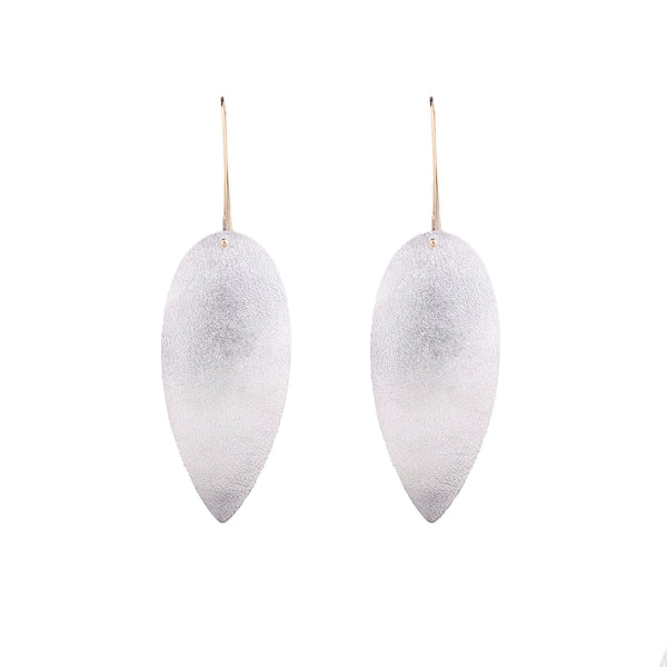 NEW! Teardrop Drop Earrings in Bright Silver by Shaesby