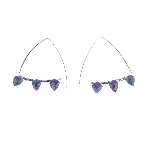 NEW! Sailboat Ruby Zoisite Hoop Earrings by Serena Kojimoto