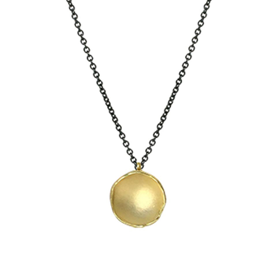 Medium Dishy Pod Necklace- 18k Gold Vermeil by Sarah Richardson - Fire Opal