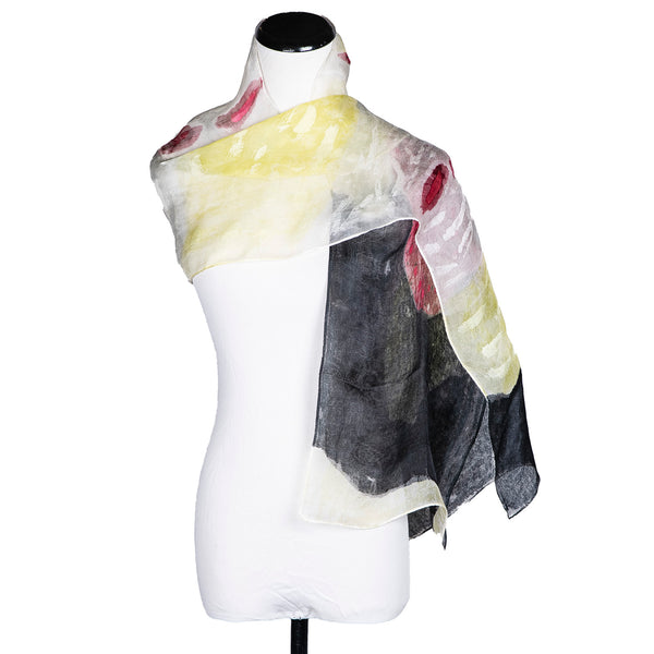 "NEW! ""Strawberry Shortcake Black"" Handpainted Silk Organza Scarf by Yuh Okano"