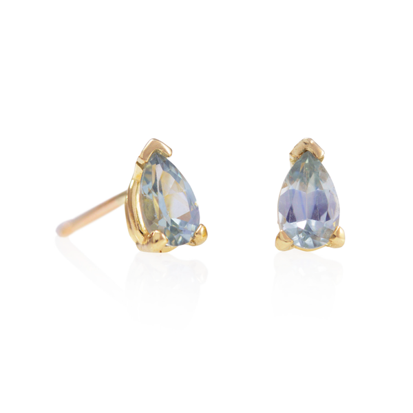 NEW! Sapphire Pear Stud Earrings by Luana Coonen