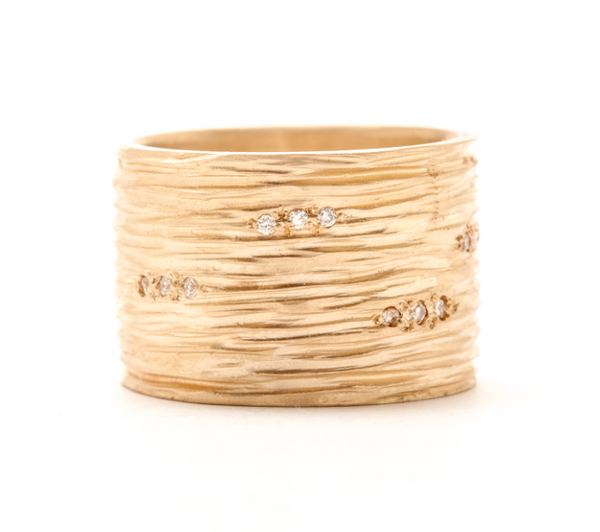 Wide Carved Lines Band by Rebecca Overmann - Fire Opal