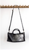 Boxy Long Shoulder Bag in Distressed Black by Stitch & Tickle