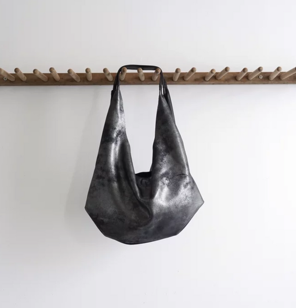 NEW! Medium Slouch Bag in Distressed Black by Stitch & Tickle