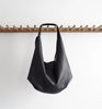 Medium Slouch Bag in Black by Stitch & Tickle