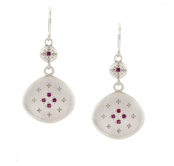 NEW! Ruby Silver Lights Earrings with Charms by Adel Chefridi