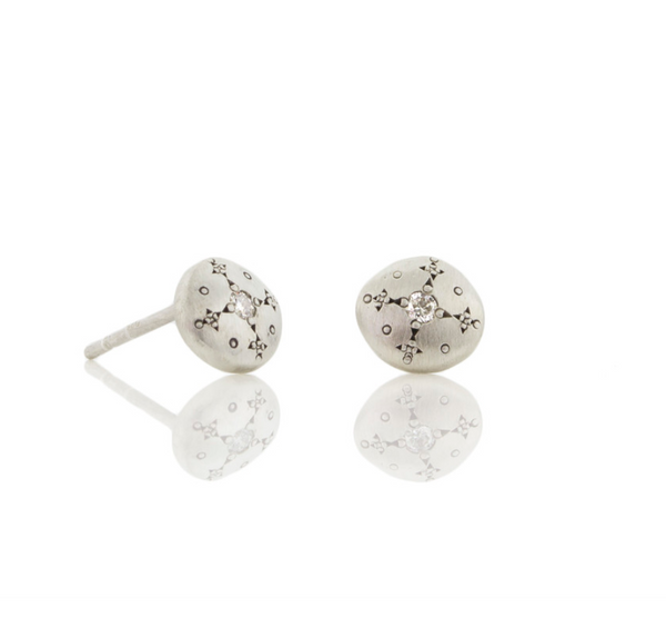 NEW! Diamond Silver Lights Studs by Adel Chefridi