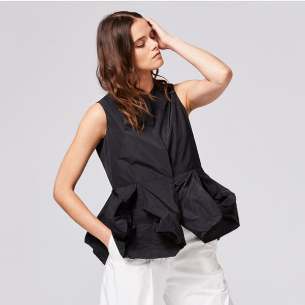 SALE! Jabot Blouse in Black Taffeta by Shosh