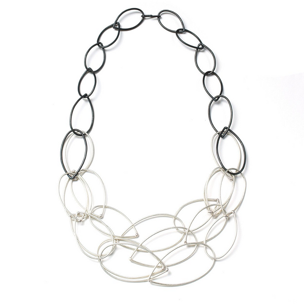 NEW! Steel and Silver Shift Necklace by Megan Auman