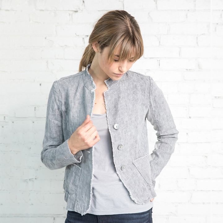 Cropped Washed Linen Denim Jacket in Gray by Studio 412/Nuthatch