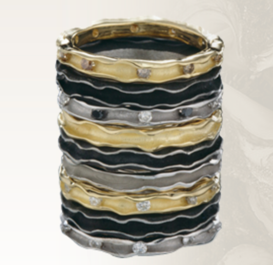 Oyster Band in White Gold with Cognac Diamonds by Sarah Graham