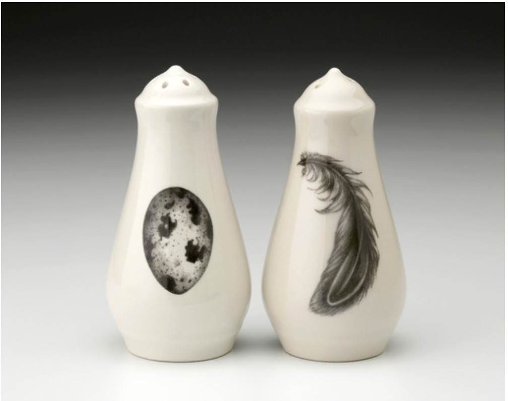 NEW! Quail Egg & Feather Salt and Pepper Shakers by Laura Zindel