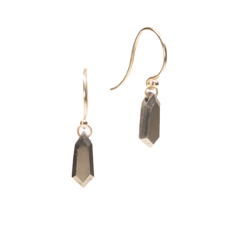 NEW! Large Pyrite Shield Drops by Carla Caruso