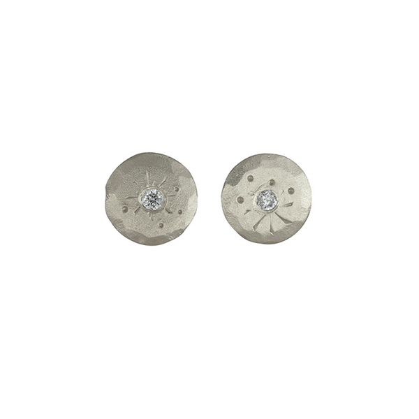 Mini Silver Diamond Treasure Coin Studs by Sarah Swell