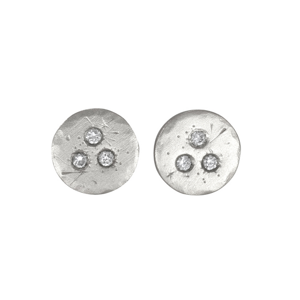 Medium Sterling Silver Treasure Coin Diamond Studs by Sarah Swell