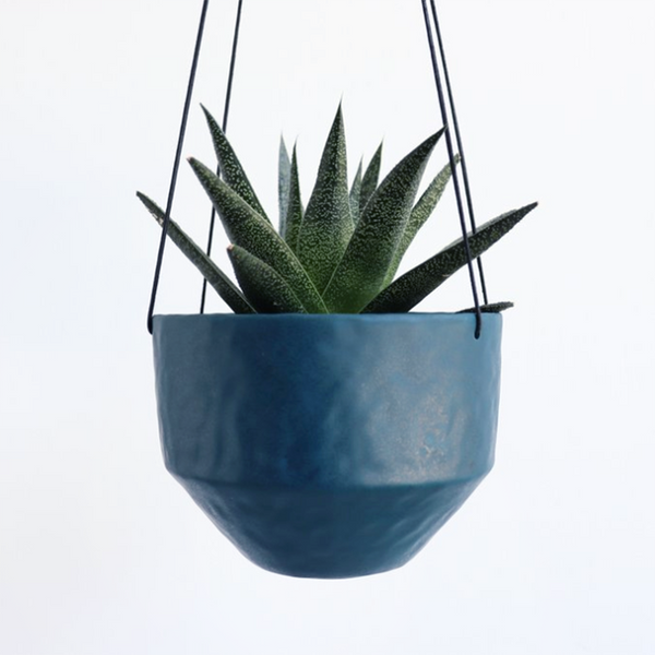 NEW! Medium Round Pinched Hanging Planter in Deep Ocean by Elizabeth Benotti