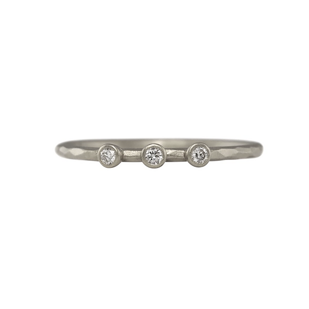 NEW! Facet 3 Diamond Stacking Ring in Sterling Silver by Sarah Swell