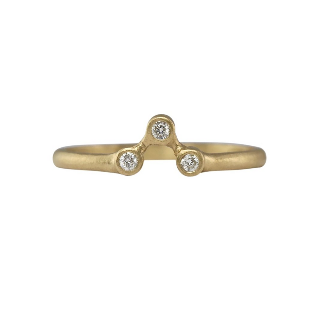 NEW! Modern 3 Diamond Stacking Ring in 14k Gold by Sarah Swell