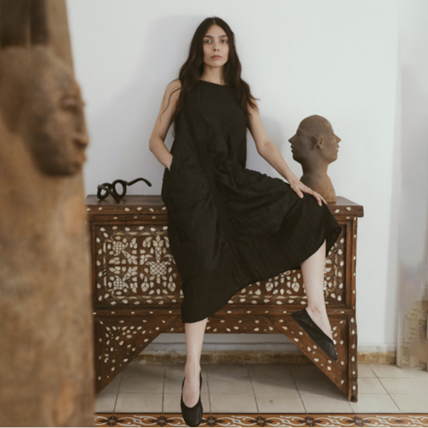 NEW! Long Black Sleeveless Dress by AMMA Kedem Sasson