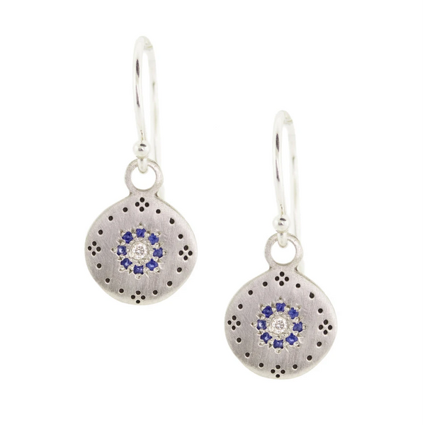 NEW! Small Cluster Earrings with Sapphires by Adel Chefridi