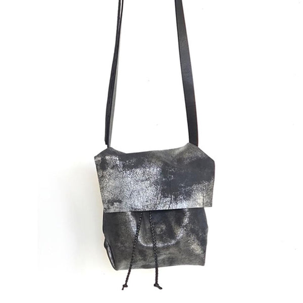 Small Bolsa- Messenger Bucket Cross Body in Distressed Black by Stitch & Tickle - Fire Opal