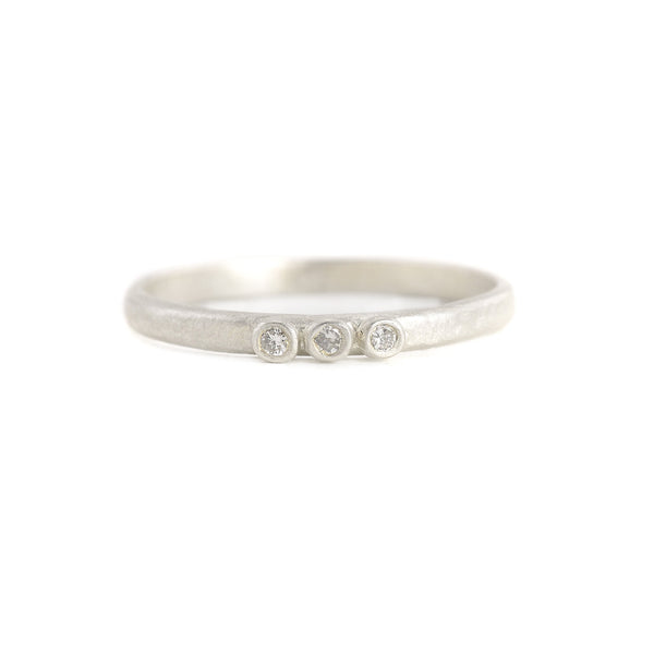 Weathered 3 Diamond Stacking Ring in Sterling Silver by Sarah Swell
