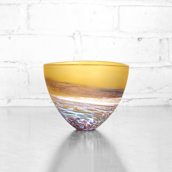 Amber Seaspray Bowl by Teign Valley Glass