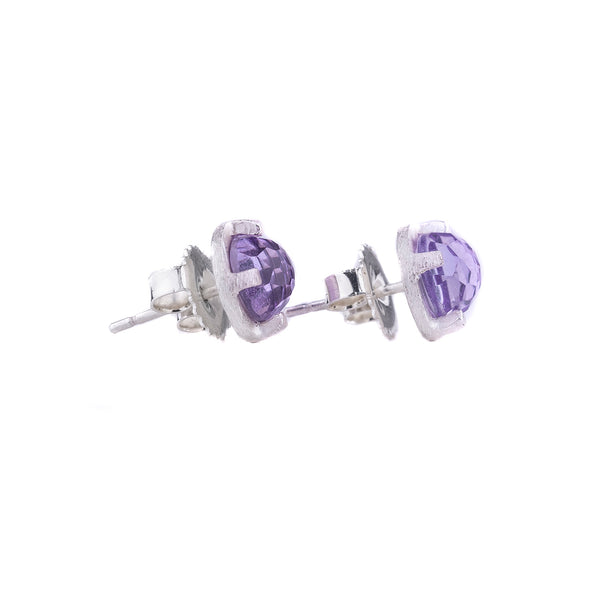 NEW! Carved 6mm Amethyst Studs by Heather Guidero
