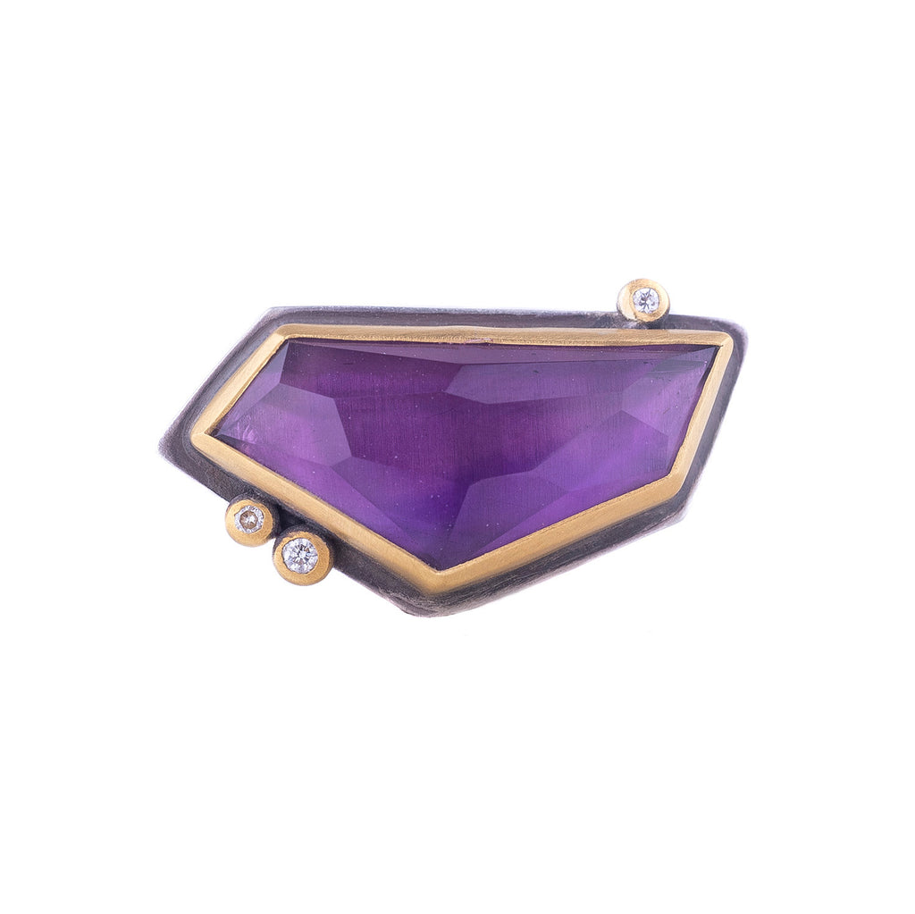 NEW! Rosecut Geometric Amethyst Ring with Diamond Dots by Ananda Khalsa