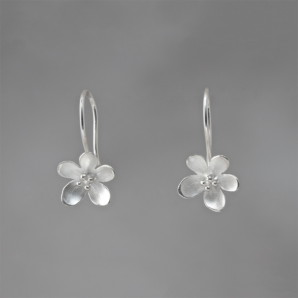 Silver Mini Cherry Blossom Flower Loop Earrings by EAM