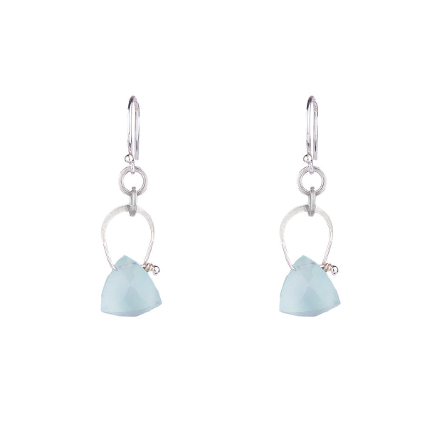 NEW! Stirrup Pyramid Aqua Chalcedony Earrings by Serena Kojimoto