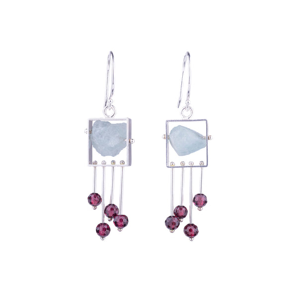 NEW! Rectangle Earrings with Aquamarine and Garnet by Ashka Dymel
