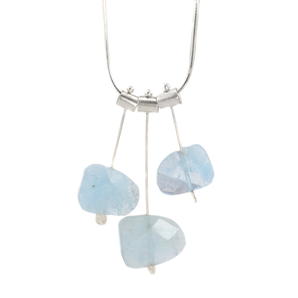 NEW! Three Pivot Petal Aquamarines Necklace by Serena Kojimoto