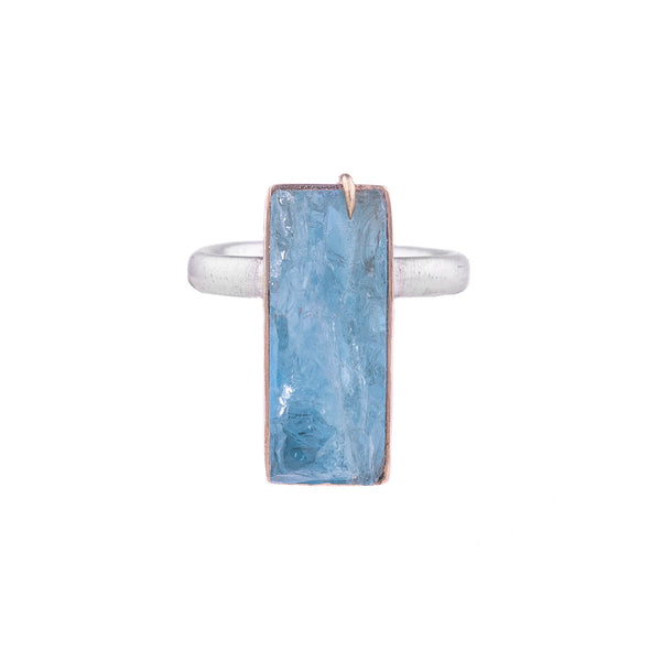 NEW! Geometric Raw Aquamarine Vanity Ring by Hannah Blount