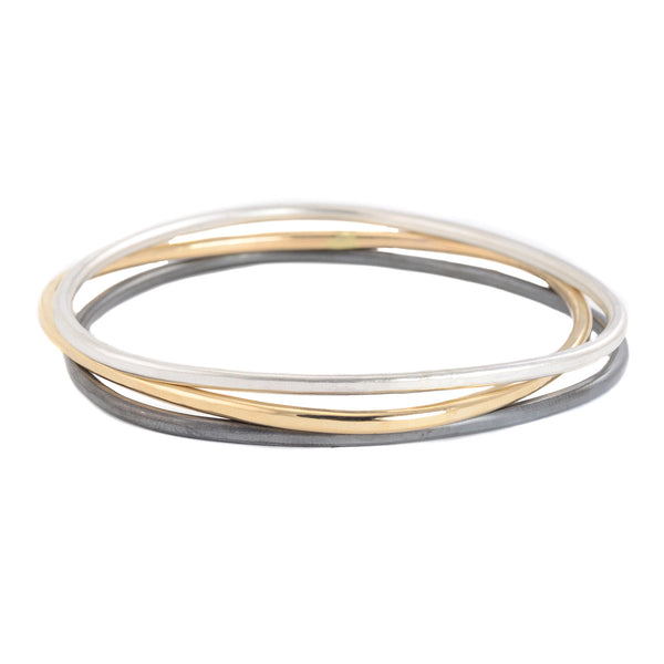 Thick Bangle Bracelets in Gold, Silver and Oxidized Silver by Colleen Mauer Designs
