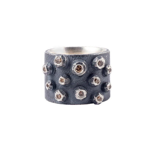 Oxidized Silver Barnacle Band with Cognac Diamonds by Dahlia Kanner