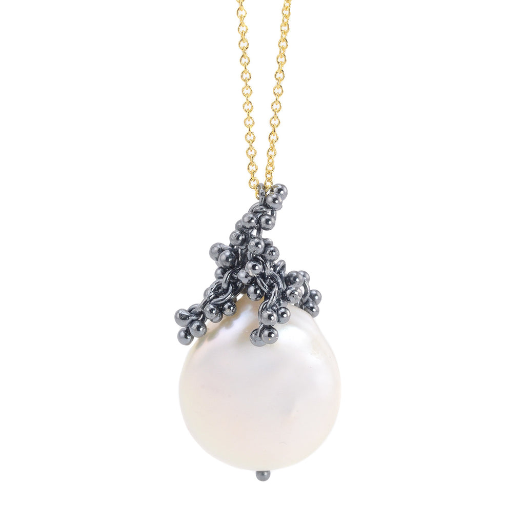 NEW! Clustering Caviar and Baroque Pearl Necklace by Magally Lopez