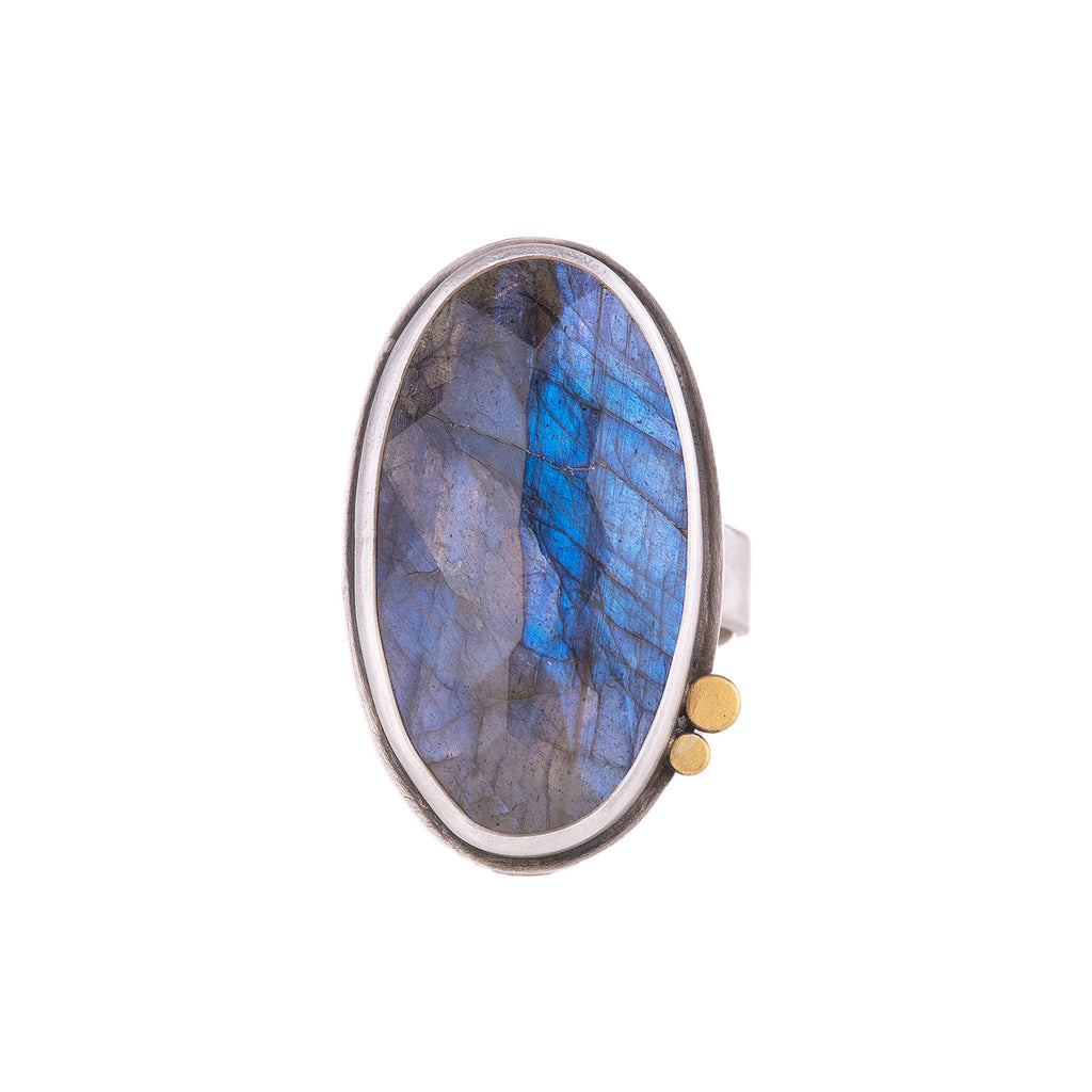 NEW! Rosecut Oval Labradorite Ring with 22k Dots by Ananda Khalsa